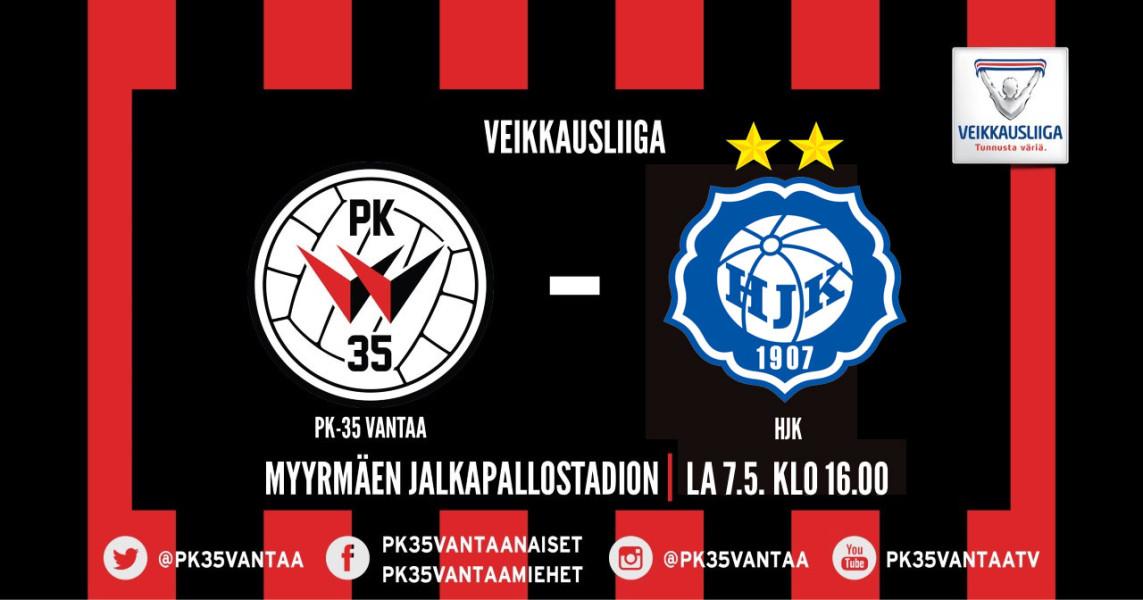 PK-35 Vantaa – HJK 7.5. Klo 16.00 Myyrmäen Jalkapallostadionilla